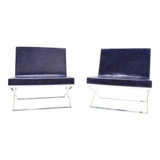 """Louis Kazan """"Kalup"""" Blue Leather and White Resin Back Lounge Chairs- A Pair For Sale"""