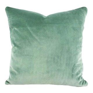 "Blue Lagoon Plush Velvet Pillow Cover - 20"" X 20"" Solid Aqua Blue Cushion Case For Sale"
