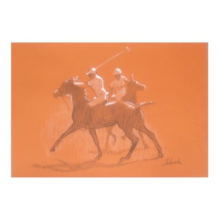1970s Americana Drawing of Horses at Monterey Peninsula For Sale