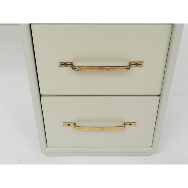 Mid 20th Century Tommi Parzinger Style Celadon Lacquered Desk For Sale - Image 5 of 9