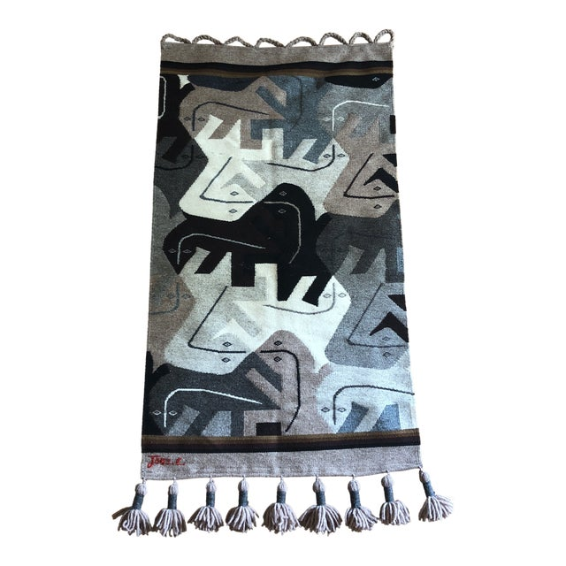 1980s Modernist Reptile Handwoven Tapestry For Sale