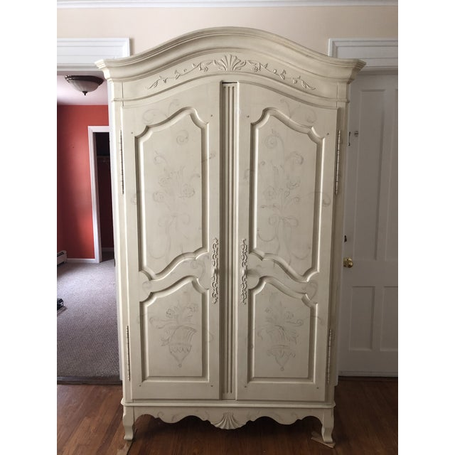Traditional Ethan Allen Traditional White Armoire For Sale - Image 3 of 3