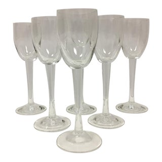Vintage Mid-Century Stemmed Crystal Cordial Glasses - Set of 6 For Sale