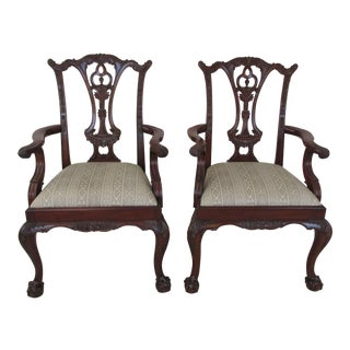 Modern Maitland Smith Chippendale Style Arm Chairs- A Pair For Sale