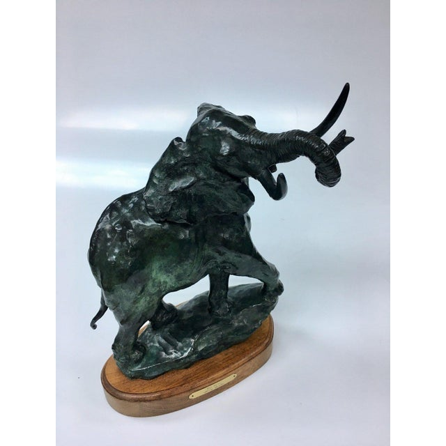 Primitive Elephant Bronze Sculpture For Sale - Image 3 of 5