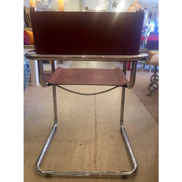 Cognac Leather and Chrome Armchairs - Set of 4 - Image 4 of 7