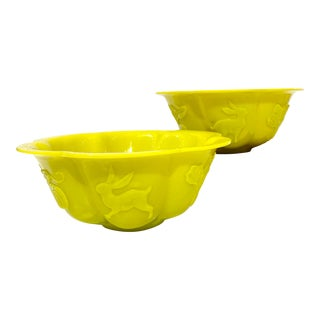 Vintage Chinese Pekin Yellow Glass Bowls - a Pair For Sale