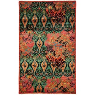 """Ikat Arts & Crafts Hand Knotted Area Rug - 5' 1"""" X 8' 1"""" For Sale"""