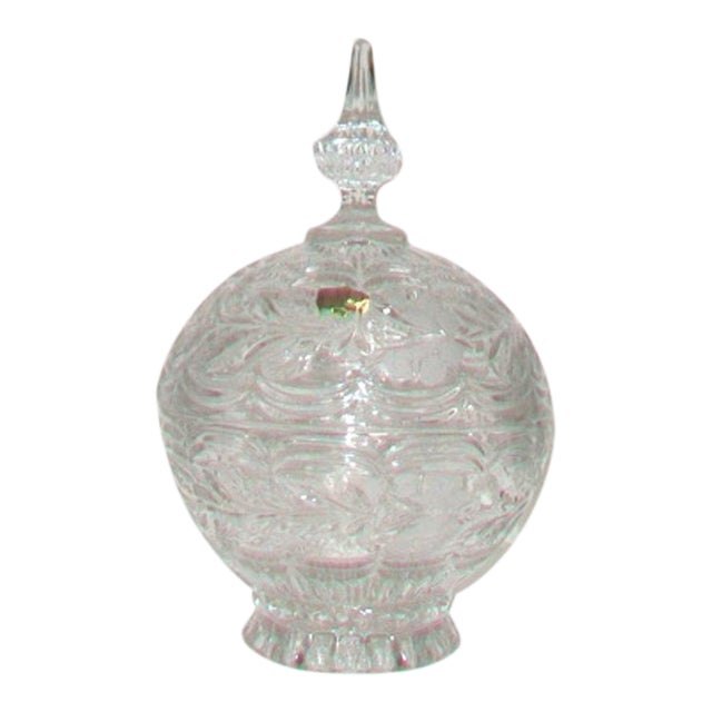 European Crystal Domed Lidded Dish For Sale