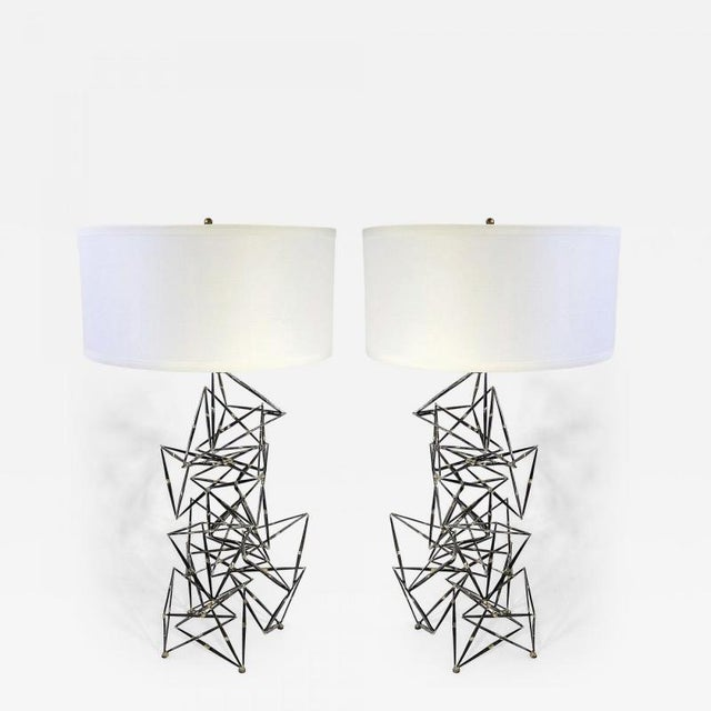 Custom Made Brutalist Lamps - a Pair For Sale In New York - Image 6 of 6