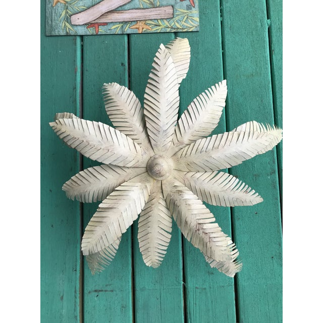 Palm beach Regency vintage 1980s tole palm leaf ceiling light in as found vintage condition. On the underneath of the...