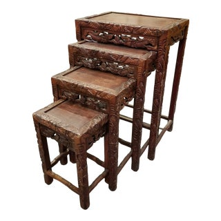 Vintage Hand-Carved Ornate Chinese Export Rosewood Chinese Nesting Tables - Set of 4 For Sale