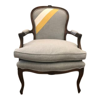 Vintage Louis XV Style Gray Fabric Arm Chair For Sale