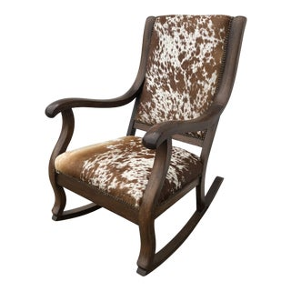 1930s Vintage Natural Cowhide Rocking Chair For Sale