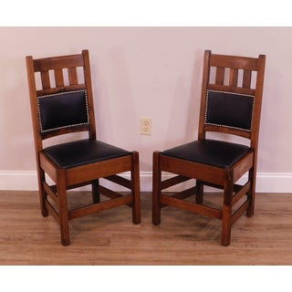 Stickley Brothers Antique Mission Oak Pair Side Chairs Preview