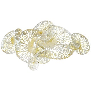 Asian Modern Fabio Ltd White and Gold Lotus Iron Wall Sculpture For Sale