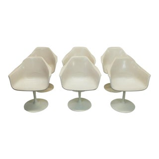 Mid Century Modern Eero Saarinen Style White Tulip Swivel Dining Arm Chairs- Set of 6 For Sale