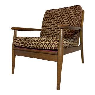 Mid Century Modern Danish Walnut Lounge Chair For Sale