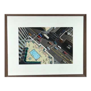 """Original """"The High Life"""" Rooftop Pool in Reno Painting by Robert Biancalana For Sale"""