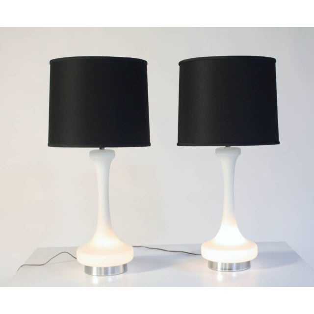 1970s Laurel White Satin Glass Lamps For Sale - Image 5 of 6
