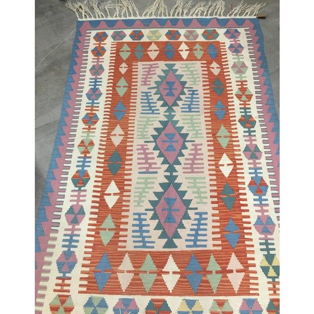 Contemporary Turkish Kilim Rug - 4′ × 6′2″ For Sale - Image 10 of 11