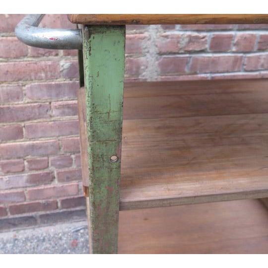 Vintage English Metal and Wood Rolling Cart For Sale - Image 4 of 5