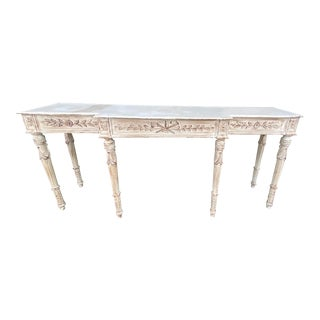 1980s Distressed White Wash Wood Carved Console For Sale