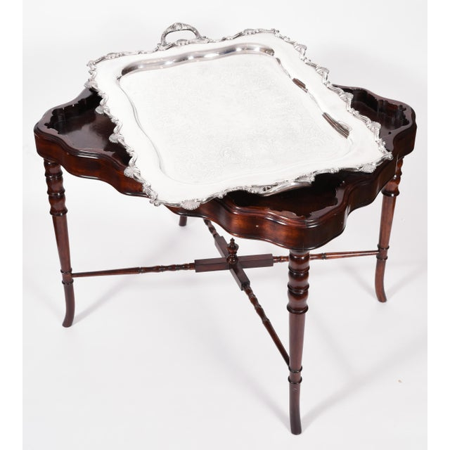 Vintage Mahogany Base Frame Silver Plate Tray Table For Sale - Image 11 of 13