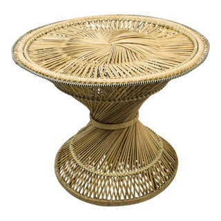 1960's Vintage Rattan Wicker Round Side Table For Sale