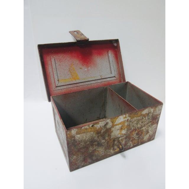 Vintage Rustic Metal Industrial Storage Tool Box For Sale - Image 4 of 8