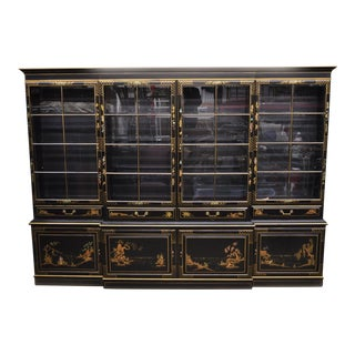 20th Century Chinoiserie Decorated Black Japanned Breakfront Bookcase For Sale