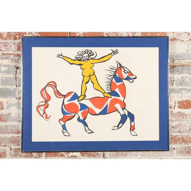 """Framed 1969 lithograph titled """"Circus Bareback Rider"""". This piece is by Alexander Calder. Pencil signed."""
