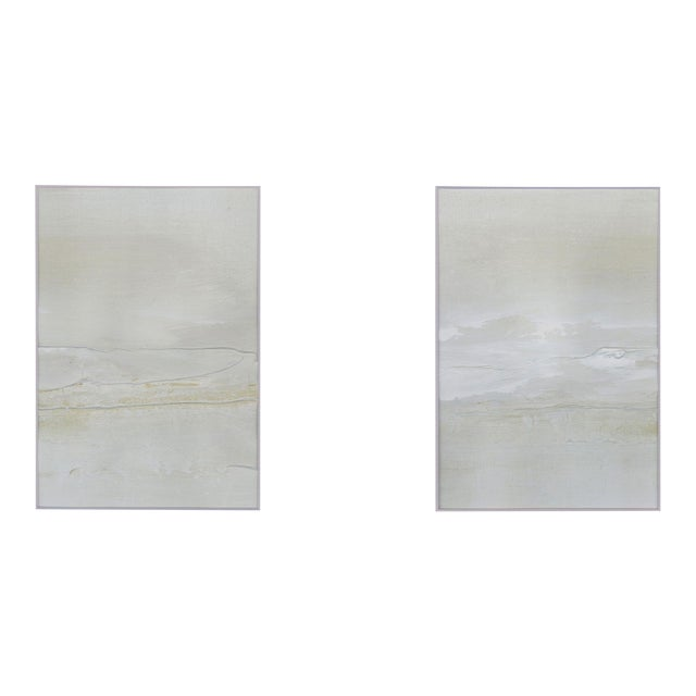 Modern Neutral Textured Art Diptych Paintings - Set of 2 - Image 1 of 6
