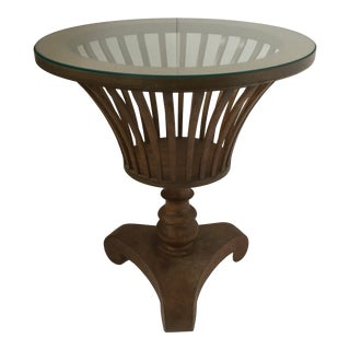 1950s Traditional Round Wood Pedestal Table For Sale