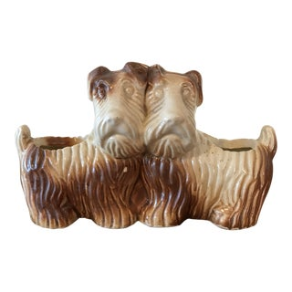 Vintage Double Sided Terrier Dogs Planter For Sale