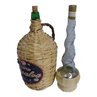 1970s Wicker Wine Bottles - a Pair For Sale