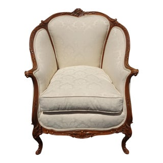 Vintage French Louis XVI Rococo Off White Down Accent Chair For Sale