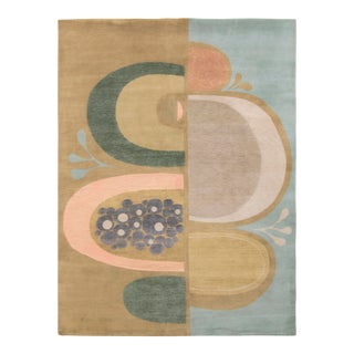 Rug & Kilim's Mid-Century Modern Style Rug in Green and Blue For Sale