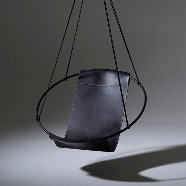 Studio Stirling Sling Hanging Chair - Black Leather For Sale - Image 4 of 9