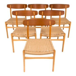 Vintage Hans Wegner Ch23 Dining Chairs by Carl Hansen 1960s (Set of Six ) For Sale