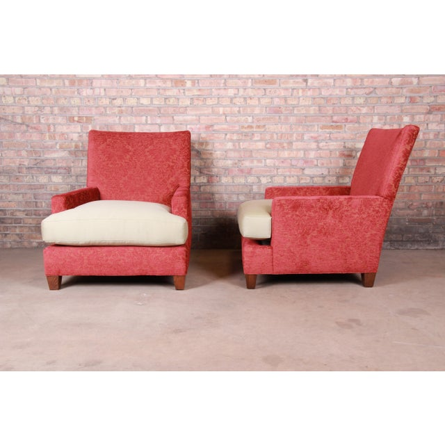 Baker Furniture Contemporary Oversized Down-Filled Lounge Chairs and Ottoman For Sale In South Bend - Image 6 of 13