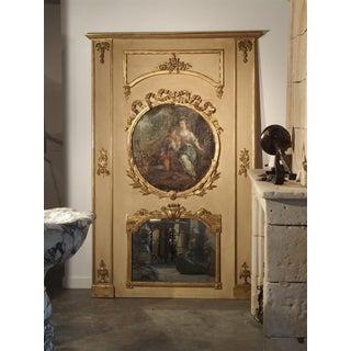 Painted Antique Louis XVI Style Trumeau Mirror, 19th Century Preview