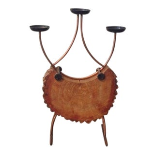 Giant Mid Century Wood & Copper Candelabra in the Manner of Carl Aubock, C.1970 For Sale