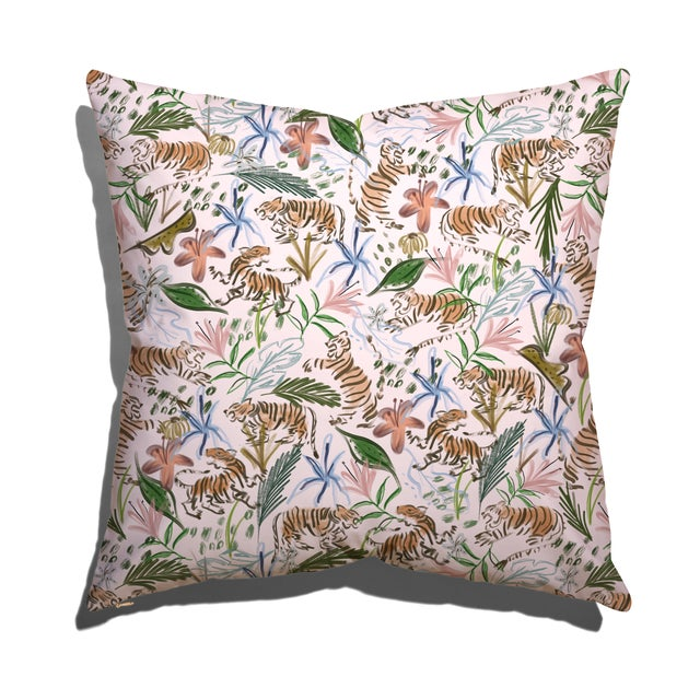 Chinoiserie Pepper Frida in Pink Euro Sham For Sale - Image 3 of 3