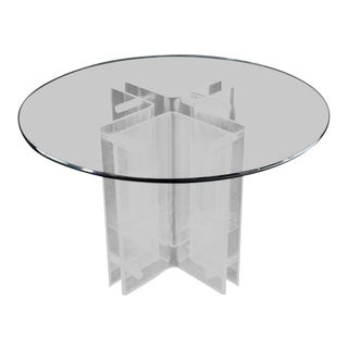 1970s Mid-Century Modern Bent Lucite Cross Shape Base Round Gueridon Centre Table For Sale