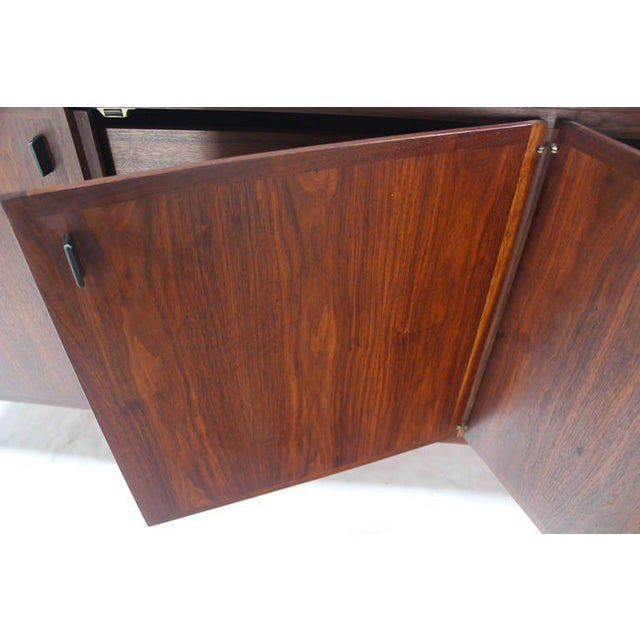 Mid-Century Modern Mid-Century Modern Long Walnut Credenza Cabinet Server For Sale - Image 3 of 9