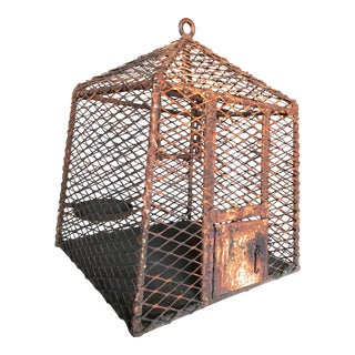 "Artisanal Brutalist Rusty Iron & Rebar Geometric Industrial ""Canary in a Coal Mine* Birdcage For Sale"