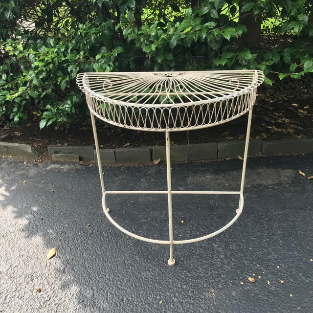 Linen Vintage Wrought Iron Demi Lune Table With Original Paint For Sale - Image 8 of 11