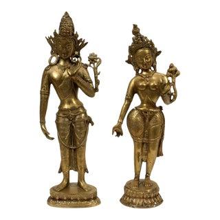 Vintage Brass Sculptures of Vishnu and Laxmi, Thailand - a Pair For Sale