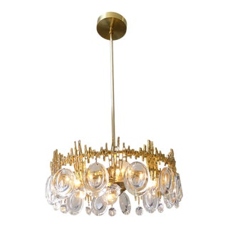 Gilt Brass & Crystal Brutalist Ceiling Fixture by Palwa For Sale